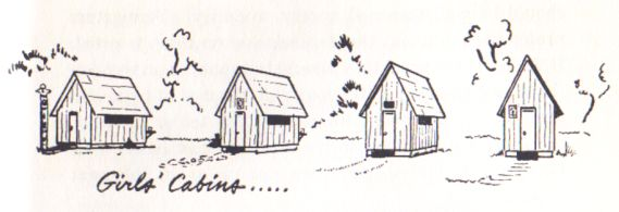 Drawing of girls' cabin from George Gurganus' book Christian Camping, 1957