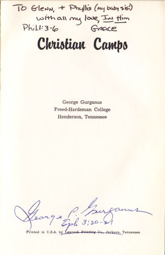 George Gurganus book front page- autographed